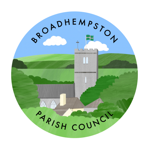 logo for council, church, trees and houses